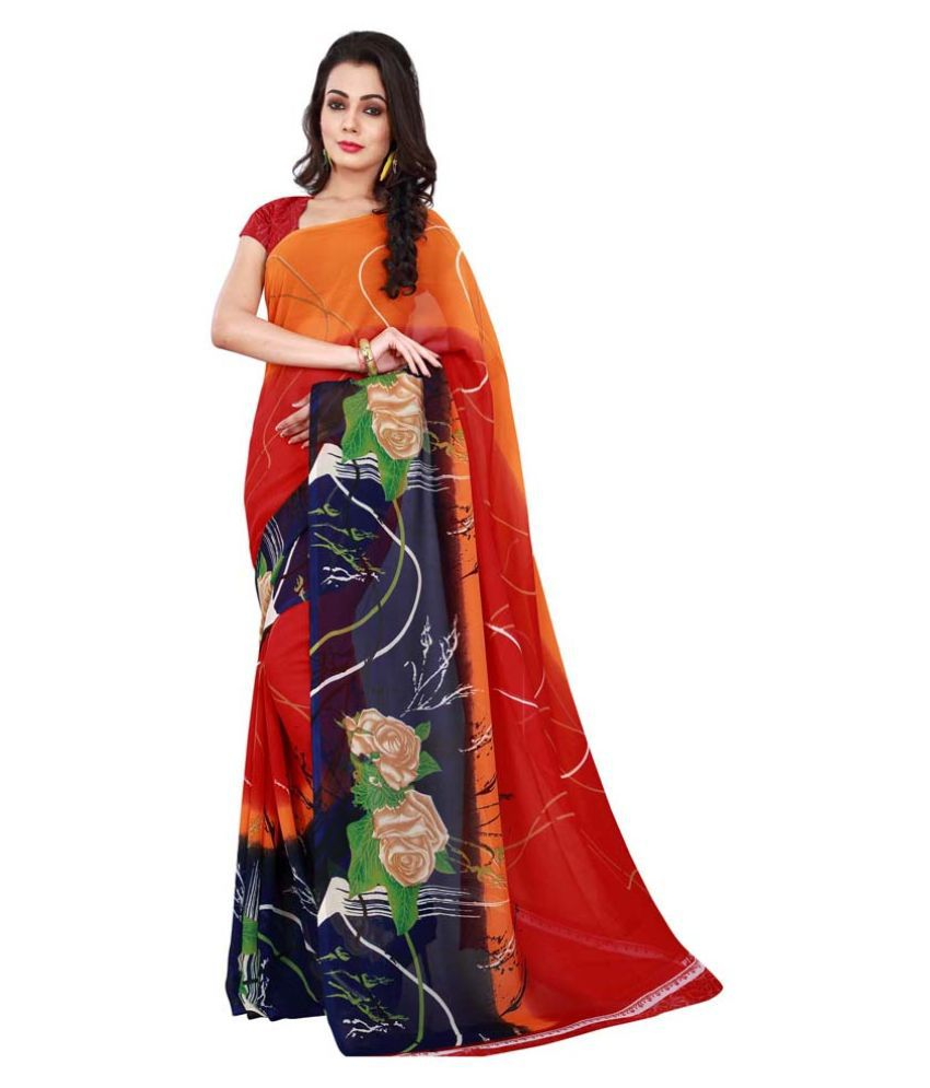 Nikki Textiles Multi Color Georgette Saree