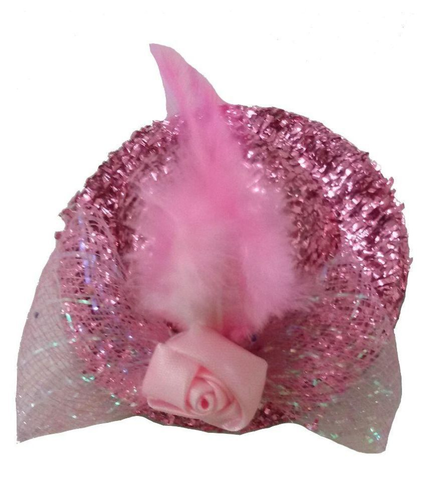 Viva Fashions Pink Fabric Hat Hair Clip