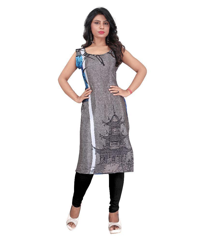 Divine India Grey Georgette Straight Kurti