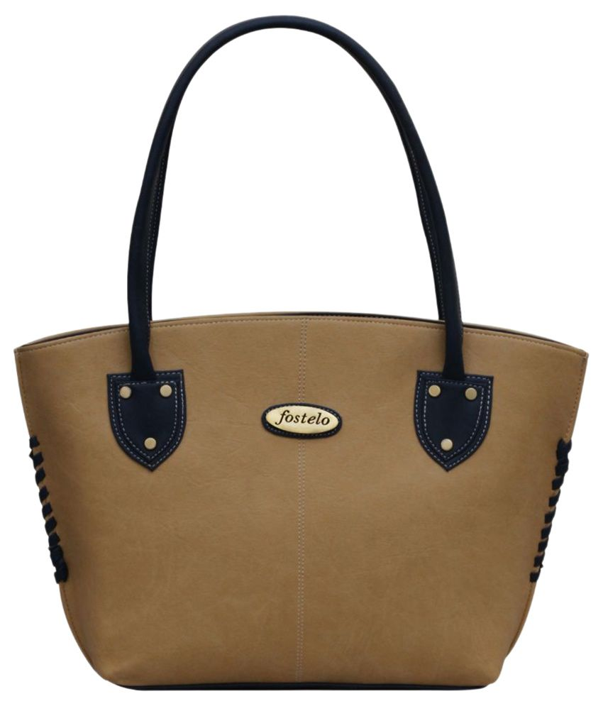 Fostelo Beige Synthetic Tote Bag