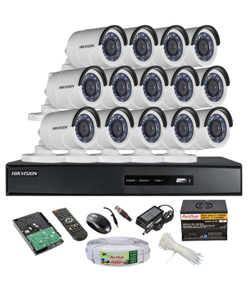 Hikvision-DS-7216HQHI-E1-16Ch-Dvr,-14(DS2CE16DOT-IRP)-Bullet-Camera-(With-Mouse,-Remote,-2-TB-HDD,-Bnc&Dc-Connectors,Power-Supply,Cable)