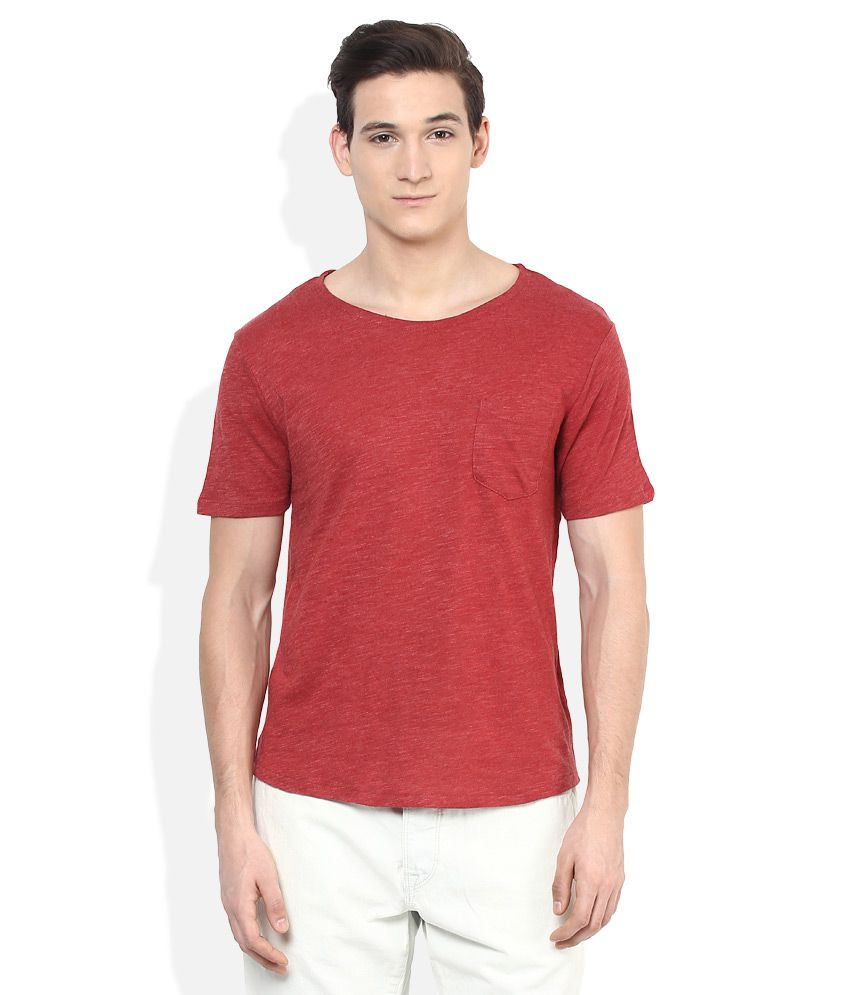 SELECTED Red Solid T-Shirt