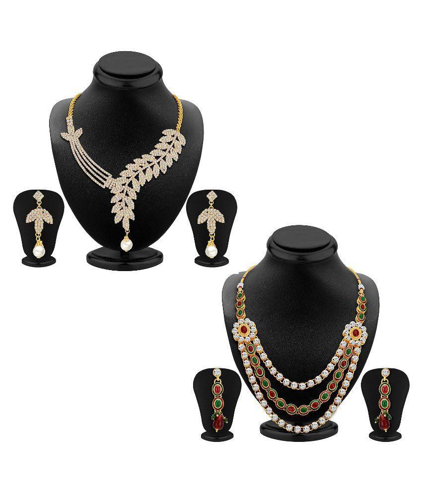 Shostopper Alloy Gold Plating Studded Multi Coloured Necklace set Combo