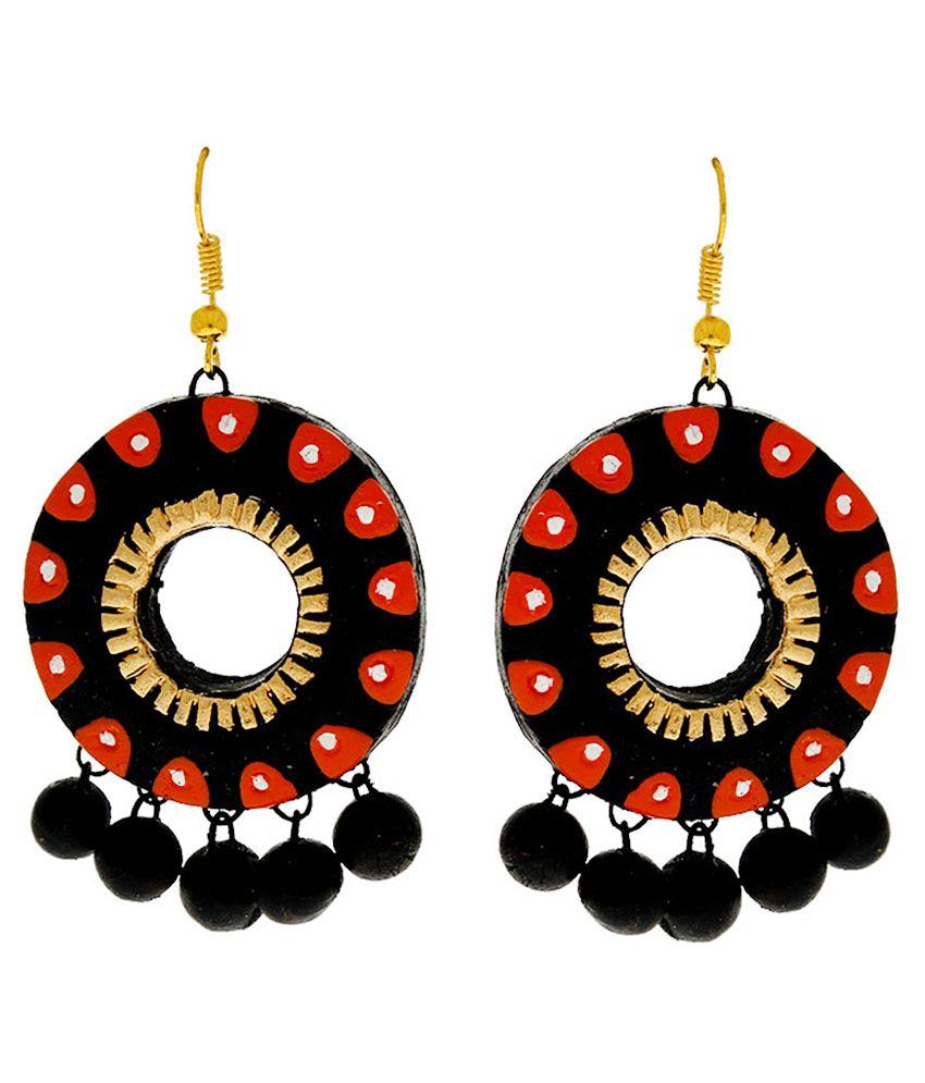 Anuradha Art Terracotta Studded Multi Coloured Earrings