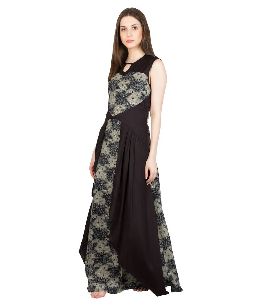 Buy Patrorna Black Viscose Nighty   Night Gowns Online at Best ... 12c0e18a5
