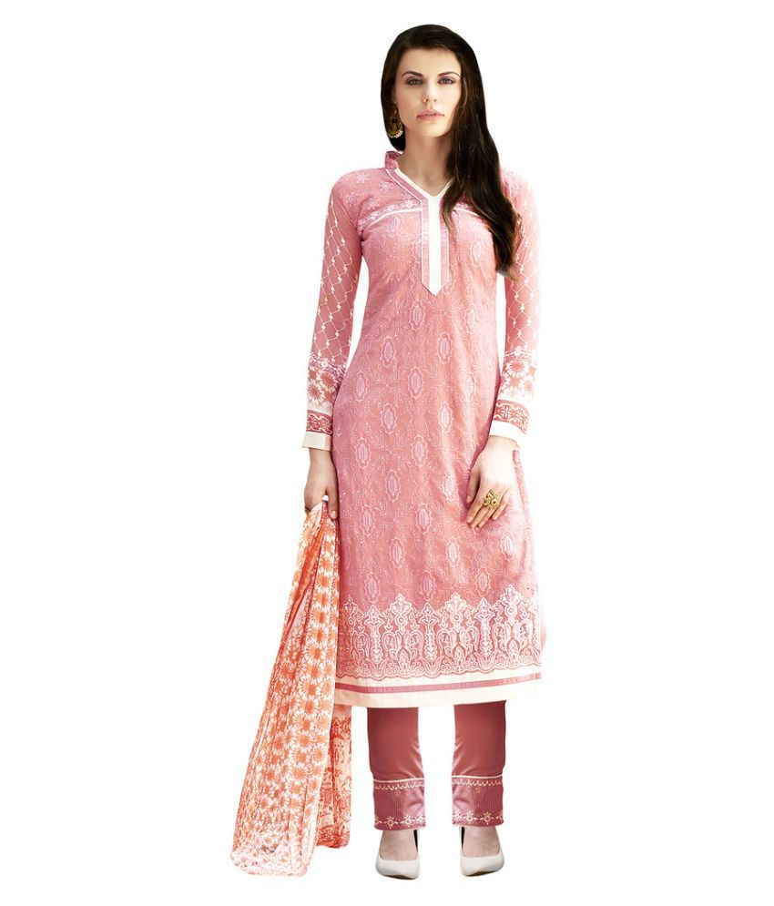 Apple Creation Peach Georgette Straight Semi Stitched Suit