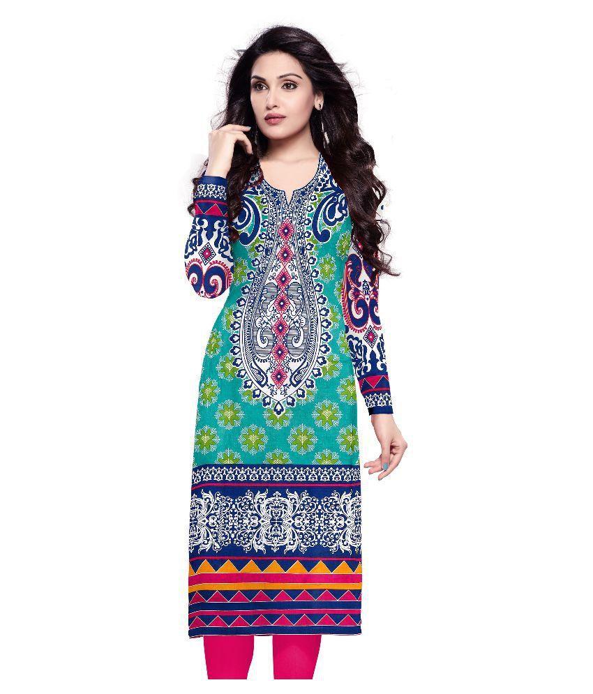 D Wine Multicoloured Cotton Kurti Unstitched Dress Material