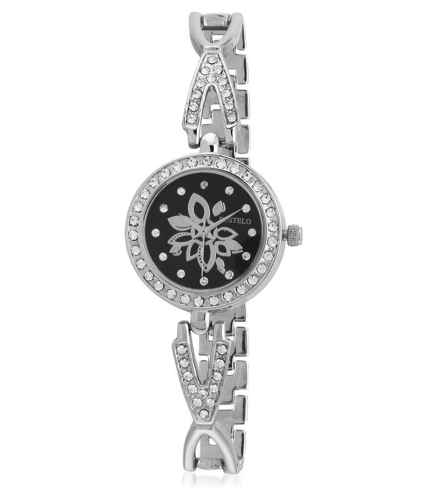 Fostelo Silver Stainless Steel Analog Wrist Watch