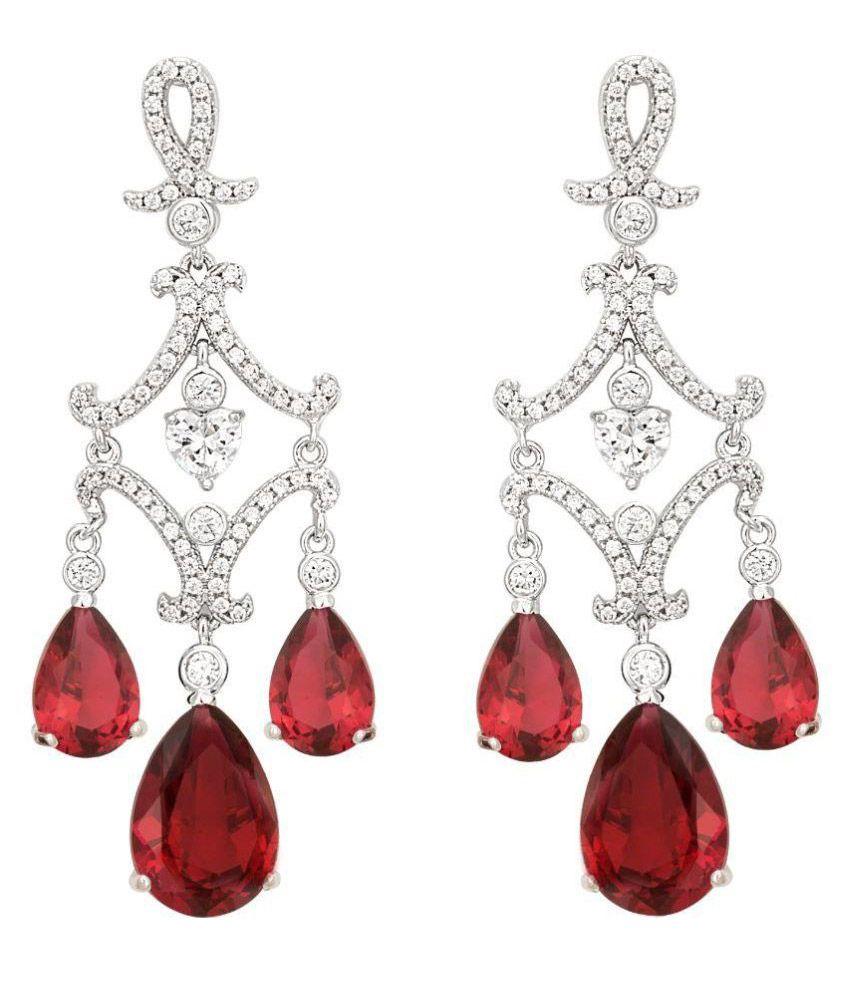 Aashvi Rhodium Plating Cubiz Zirconia Studded Silver Coloured Earrings