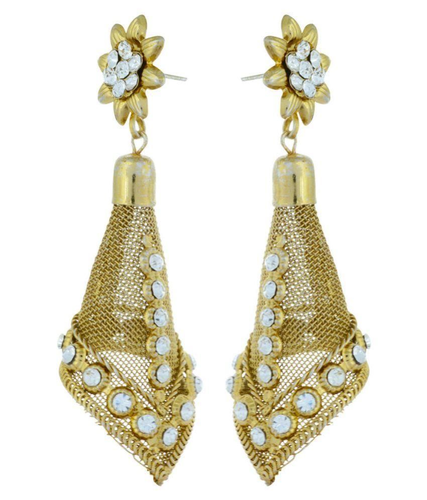 Ia Fashions Alloy Studded Gold Coloured Earrings