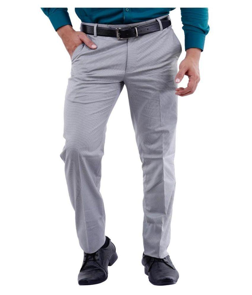 La Mode Grey Slim Fit Chinos Trouser