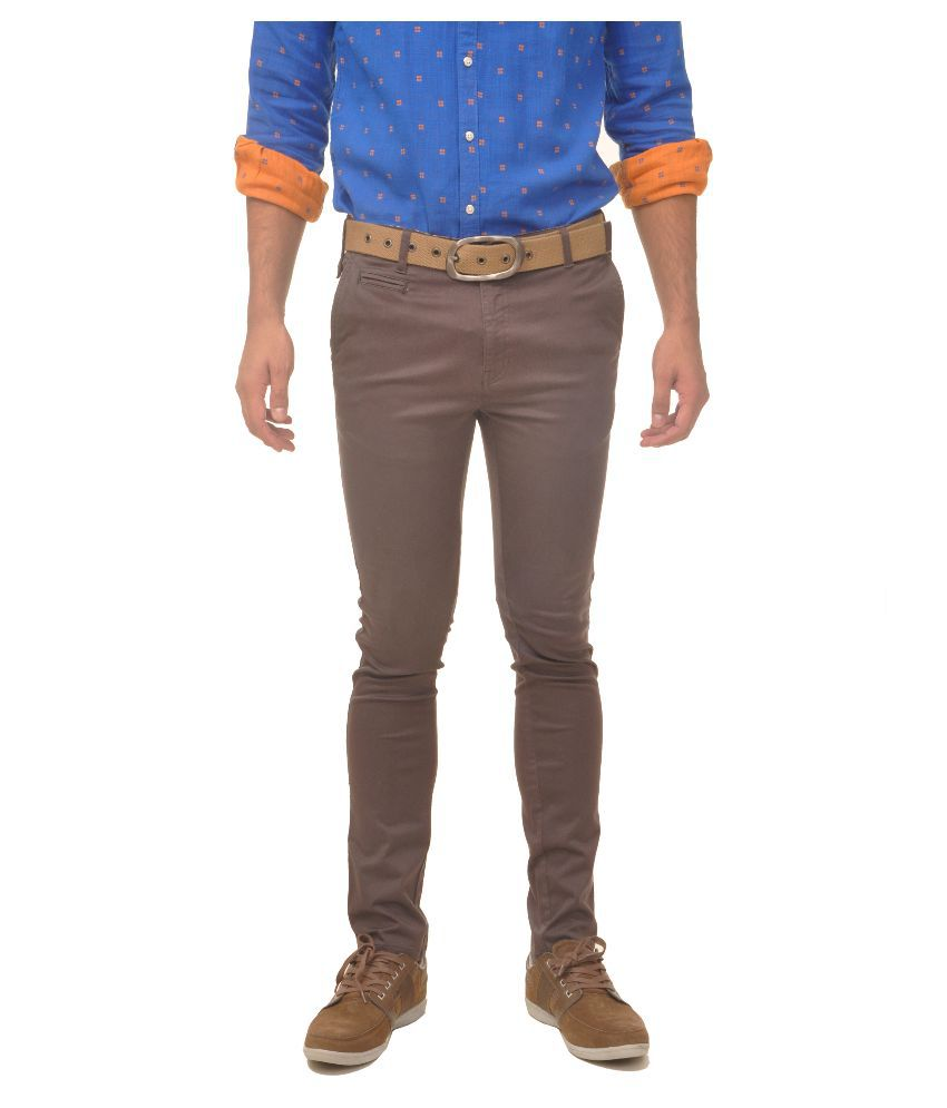 Fire On Brown Slim Fit Chinos