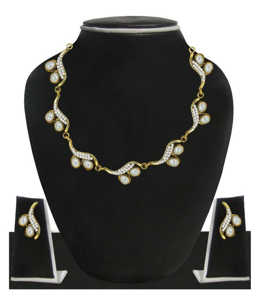Zaveri Pearls Zinc 22 Kt Gold Plating Pearls Studded Gold Coloured Necklaces Set