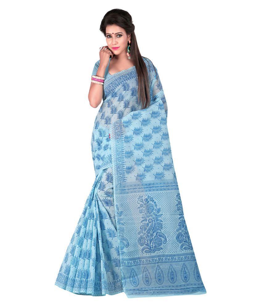 Fashiondeal Blue Cotton Saree