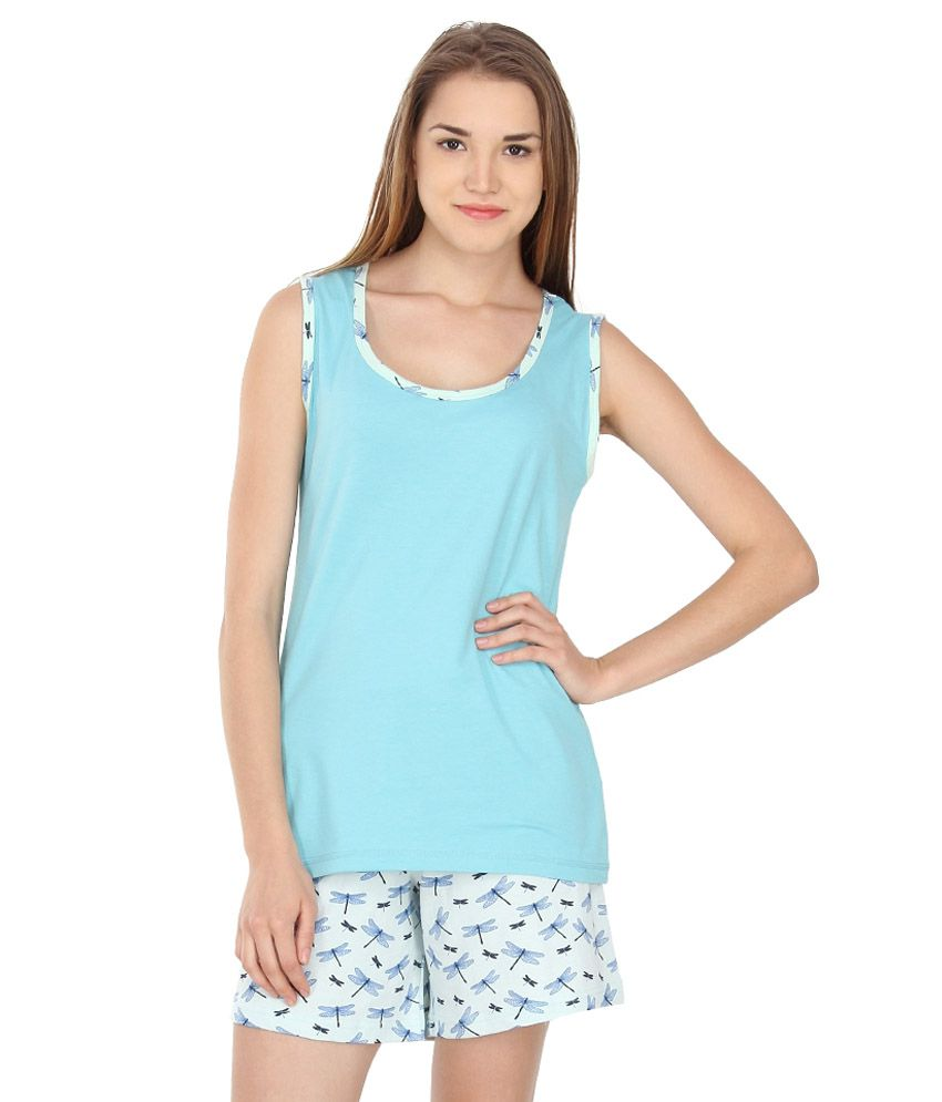 Nuteez Blue Cotton Nightsuit Sets
