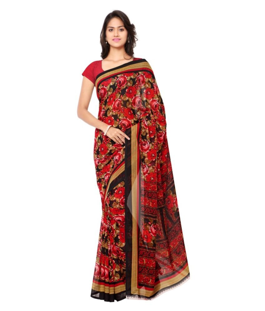 Aagaman Fashions Red Georgette Saree