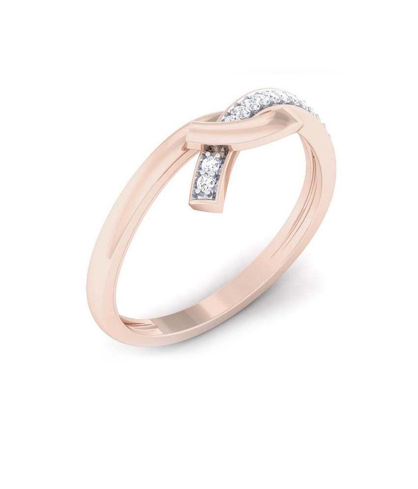 Charu Jewels 18Kt BIS Hallmarked Rose Gold Diamond Ring
