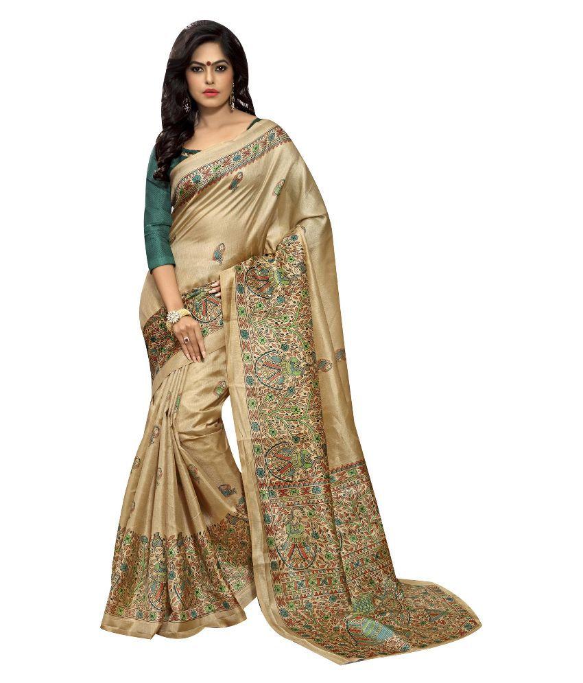Lexsus Fashion Beige Silk Saree