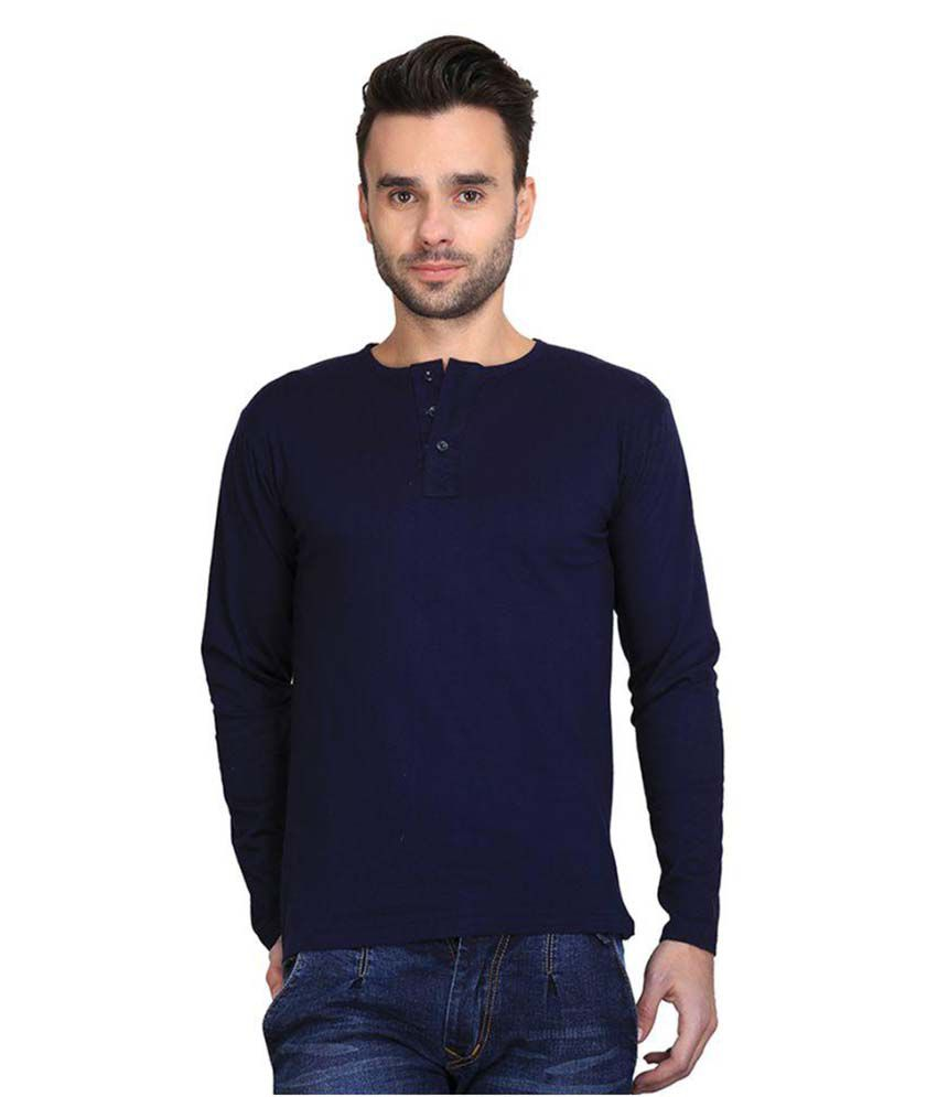 AVE Navy Henley T Shirt