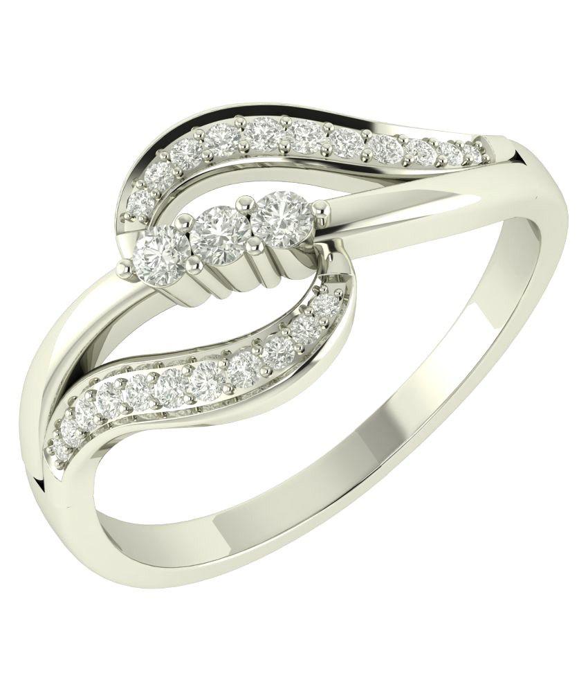 Charu Jewels 18Kt BIS Hallmarked White Gold Diamond Ring