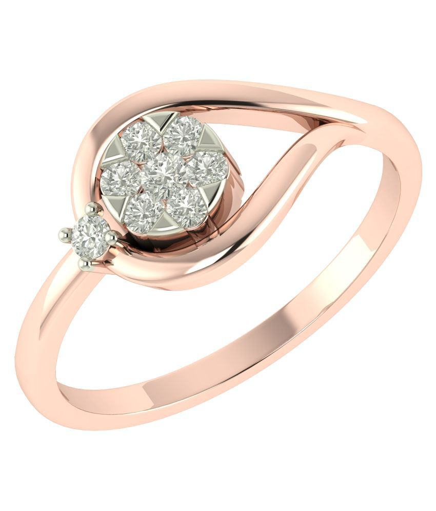 Charu Jewels 18Kt BIS Hallmarked Rose Gold Diamond Ring