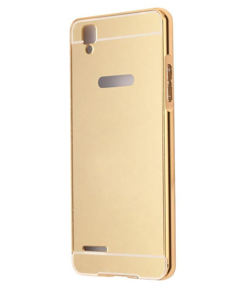 HIGH QUALITY MIRROR BACK CASE COVER WITH METAL BUMPER FOR OPPO F1 PLUS - GOLDEN - Plain Back Covers Online at Low Prices | Snapdeal India