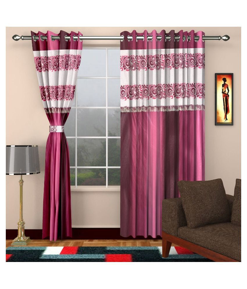 Dizen star set of 2 door eyelet curtain printed pink buy dizen star set of 2 door eyelet - Home dizen ...