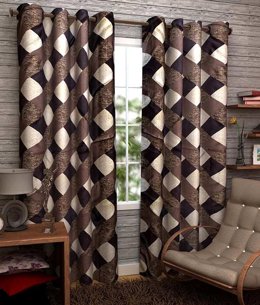 Homefab India Set of 2 Long Door Eyelet Curtains Checks Brown