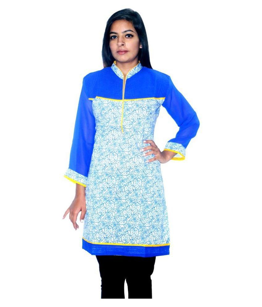 Navix Blue Cotton Straight Kurti