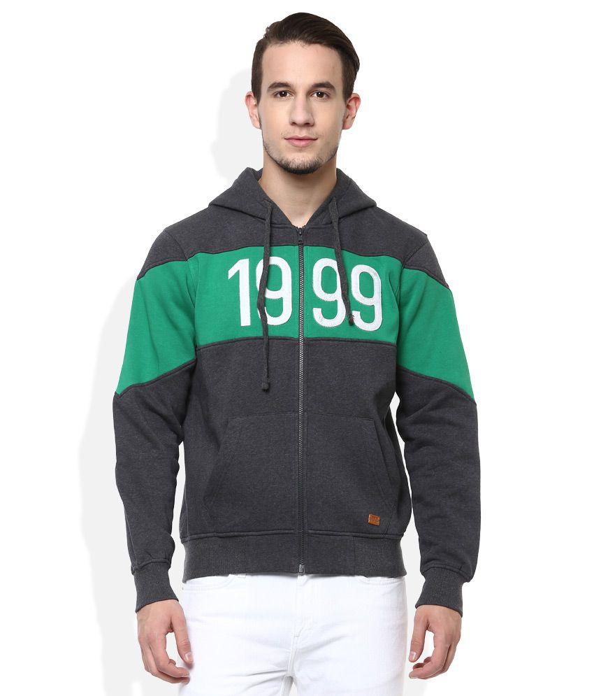 Parx Grey Hooded Full Sleeves Solid Sweatshirt