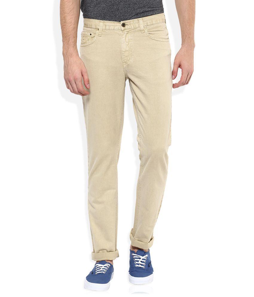 Parx Khaki Regular Fit Solid Jeans