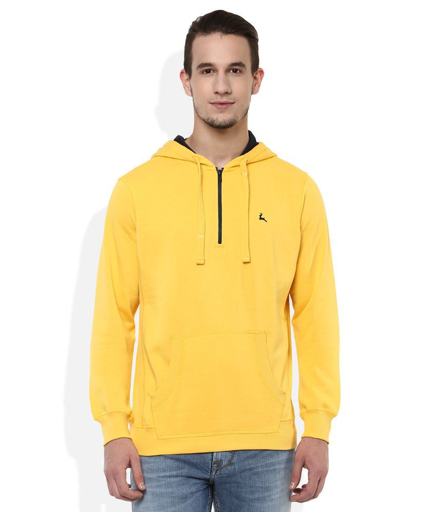 Parx Yellow Hooded Full Sleeves Solids T-Shirt