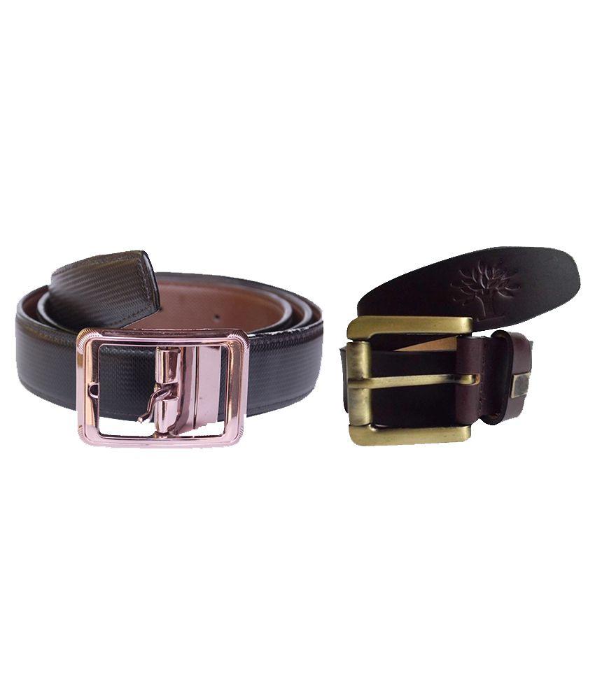 Sankalp Multicolor Leather Casual Belt For Men - Pack Of 2