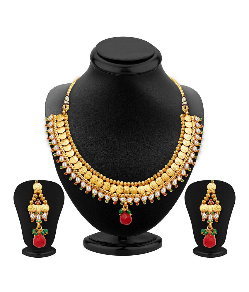 Sukkhi Gold Plated Temple Crystal Necklace Set