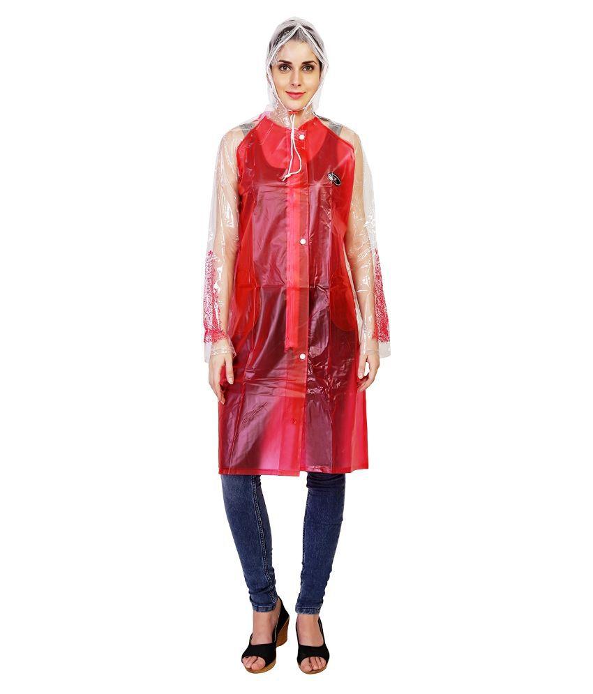 Zeel Red Solid Raincoat  For Women