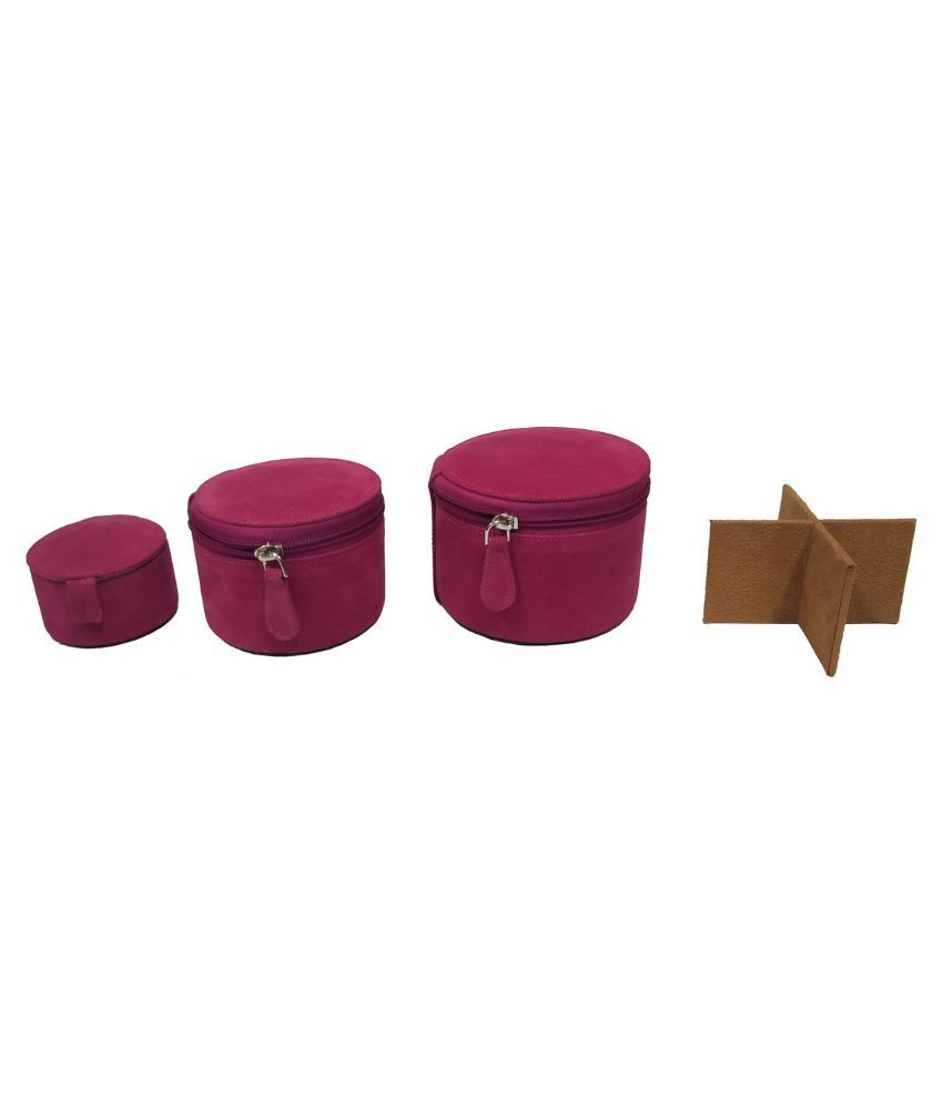 Essart Pink Leather Jewellery Box
