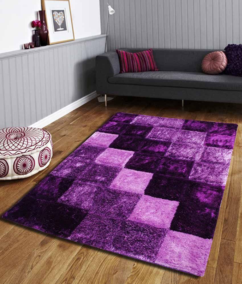 Flooring India Purple Polyester Carpet Checks 4x6 Ft Buy