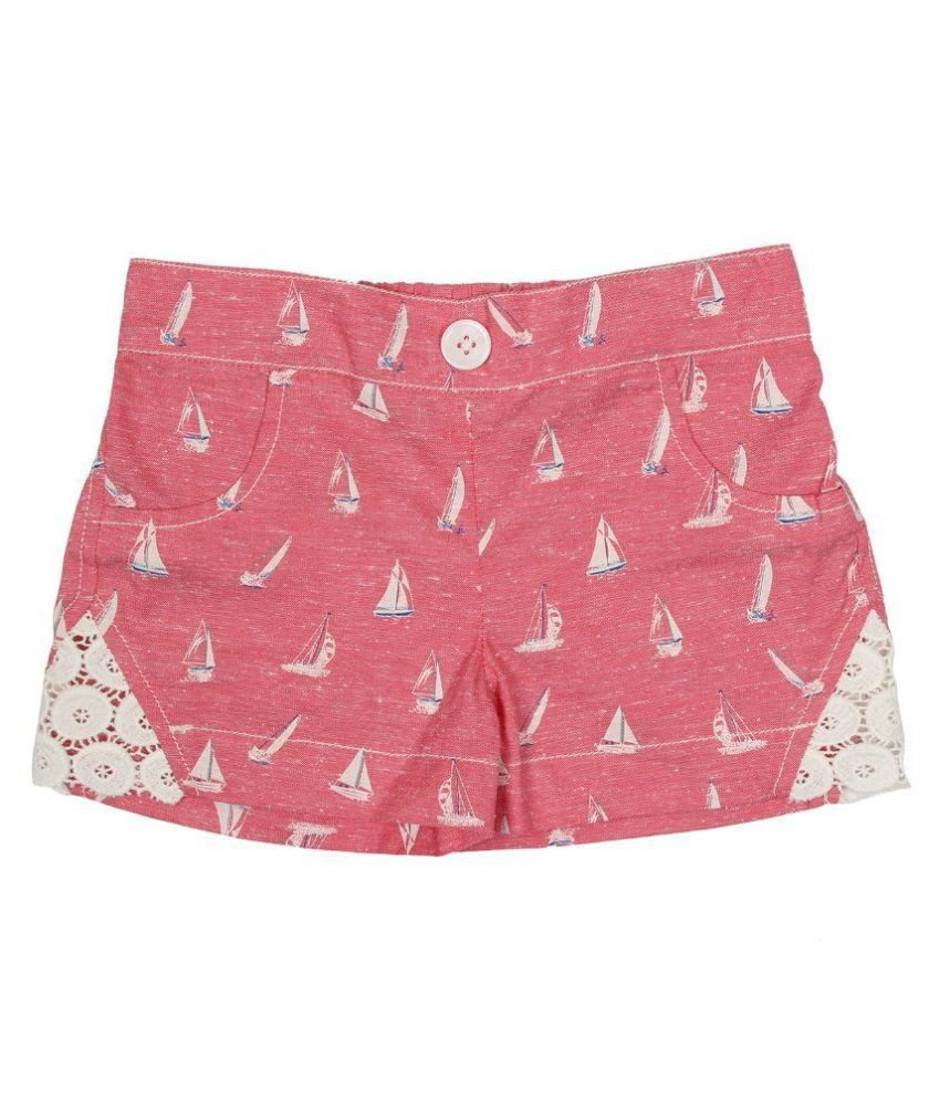 Twin Twine Pink Cotton Shorts