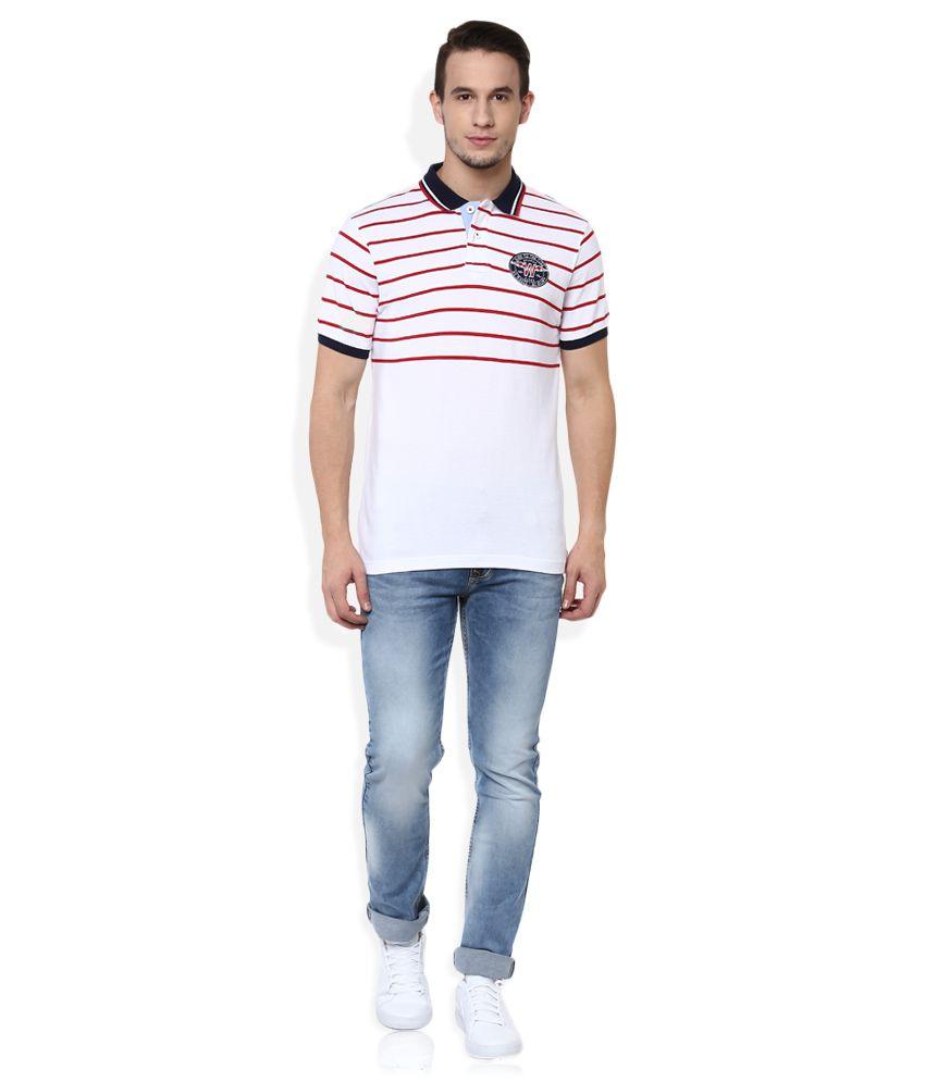 Wrangler White Striped Regular Fit Polo T-Shirt - Buy ...