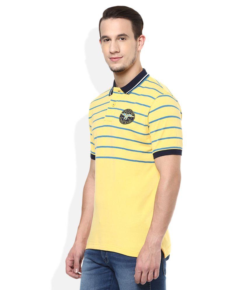 Wrangler Yellow Striped Regular Fit Polo T-Shirt - Buy ...