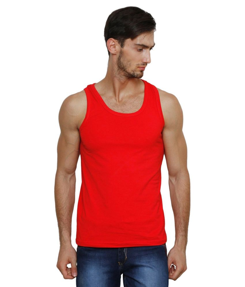 Casual Tees Red Polyester Innerwear
