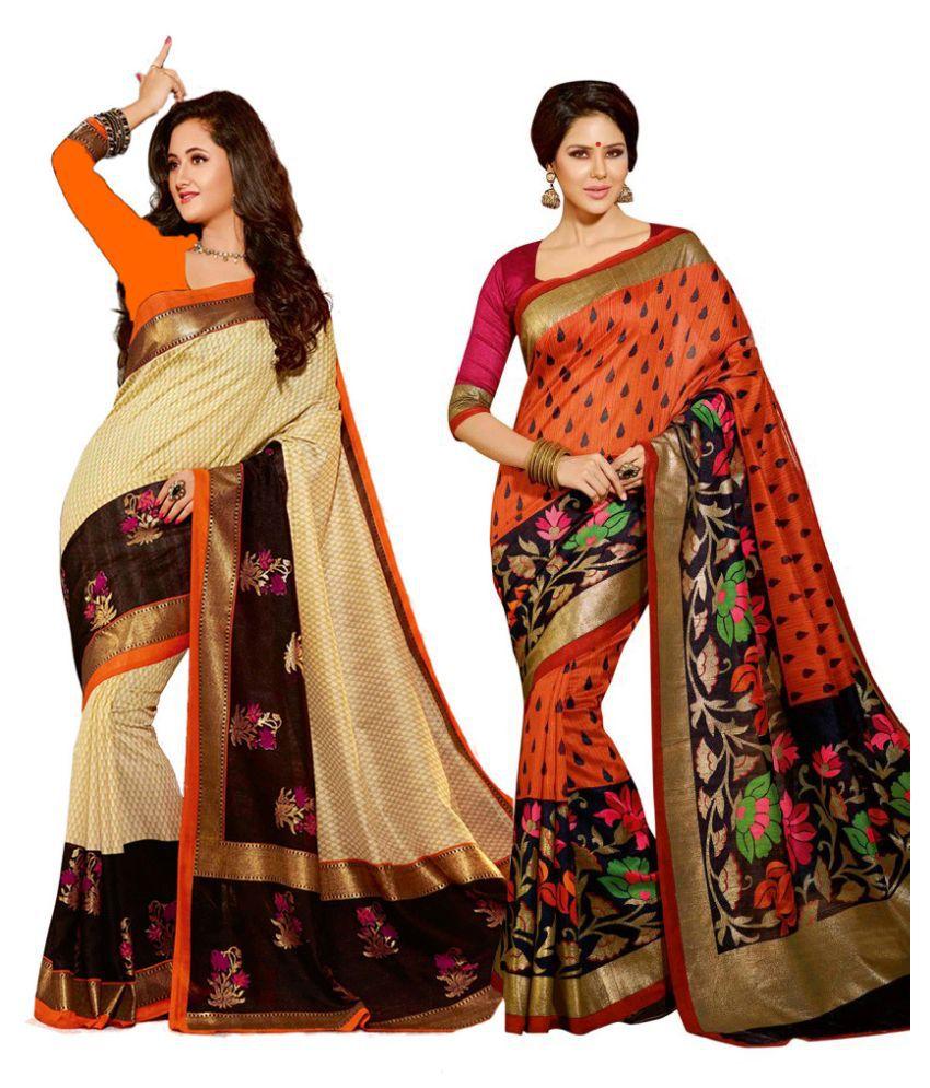 Gitanjali Fashions Multicoloured Cotton Saree Combos