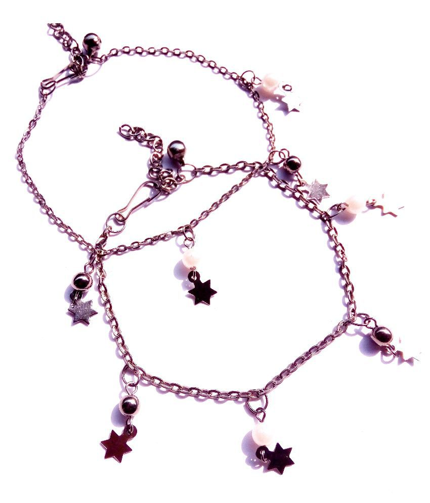 Uma Crystal Studded Pink Pair of Anklets