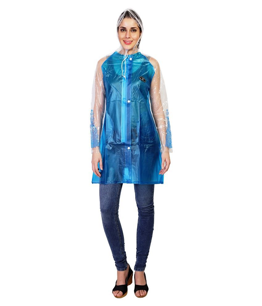 Zeel Blue Solid Raincoat  For Women