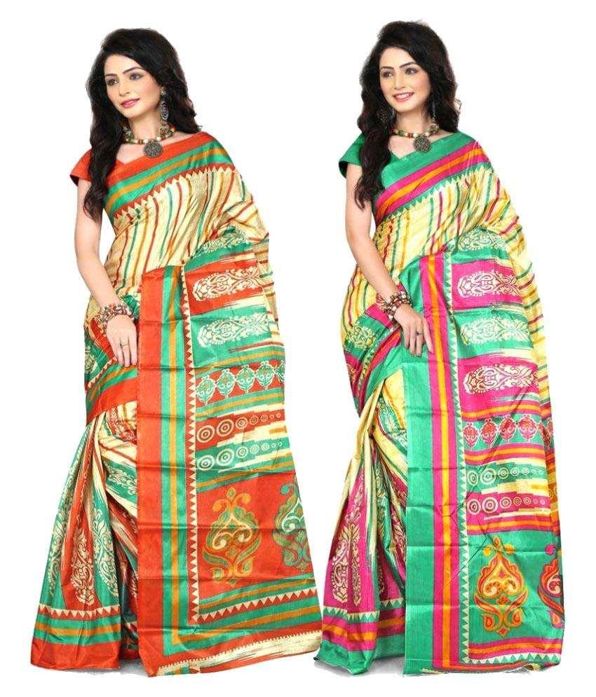 Shristy Fashion Multicoloured Art Silk Saree Combos