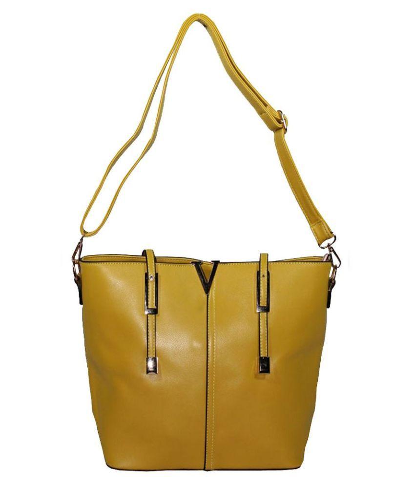 Bagshub Yellow PU Shoulder Bag