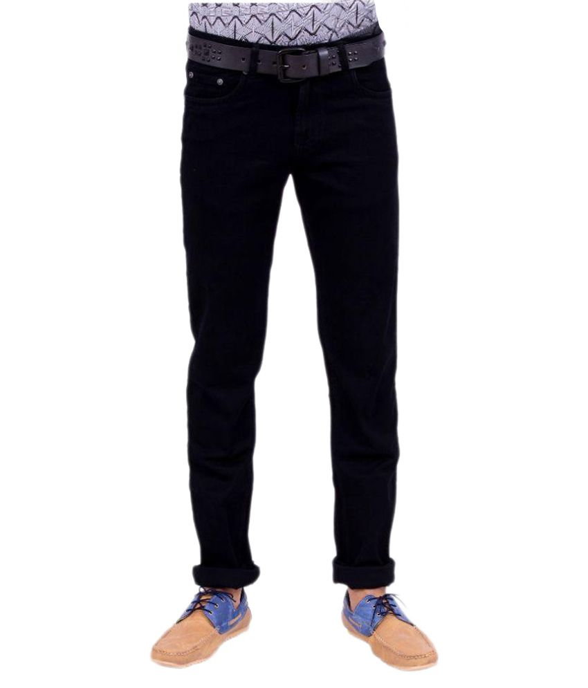 Bombay Blues Black Regular Fit Solid Jeans