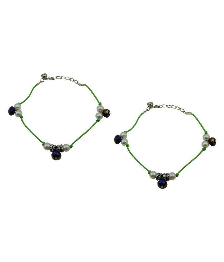 High Trendz Green Pair of Anklets