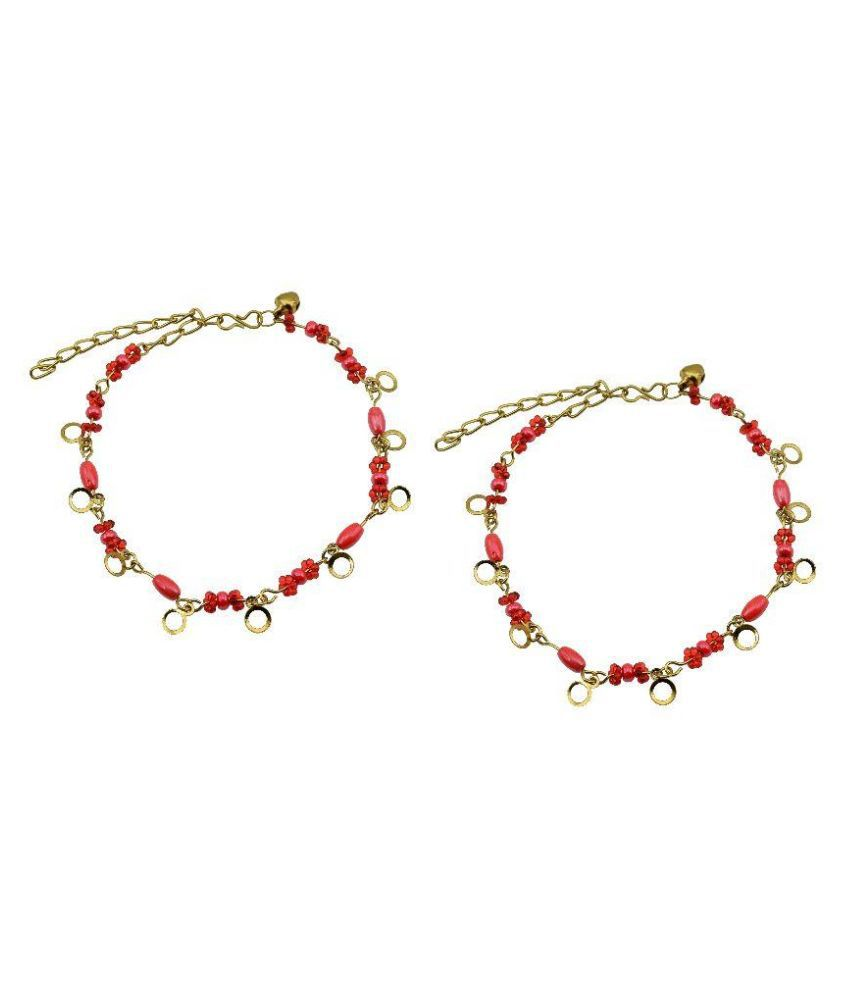 High Trendz Red Pair of Anklets