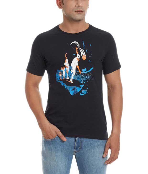 Nike Black Round Neck Cotton T-Shirt for Men